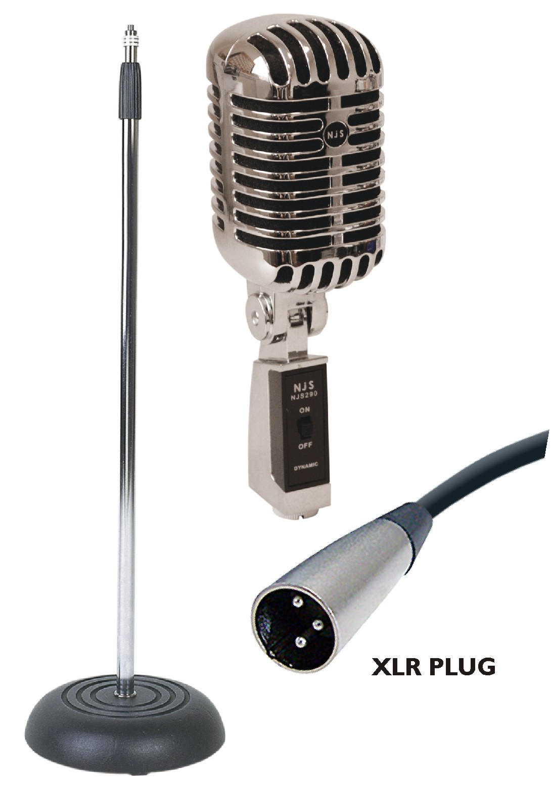 NJS Vintage Style Elvis Retro Chrome Microphone & Matching ... Retro Microphone With Stand